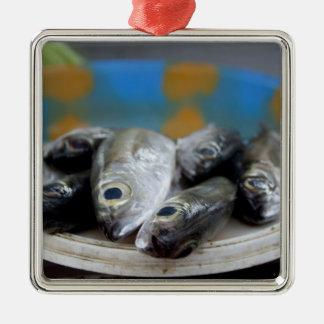 Fresh fish on fish market Mercado de Peixe), Metal Ornament