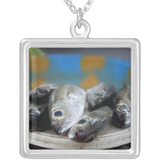Fresh fish on fish market Mercado de Peixe), Square Pendant Necklace