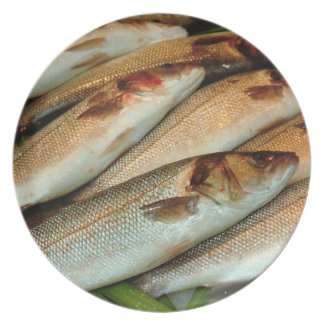 Fresh Fish on Ice with Green Leaves Melamine Plate