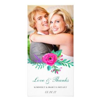 Fresh Florals Wedding Love and Thanks Photo Card