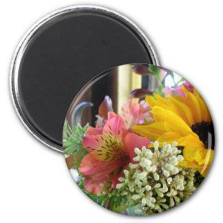 Fresh Flowers 2 Inch Round Magnet