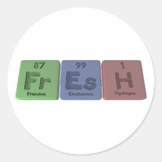 Fresh-Fr-Es-H-Francium-Einsteinium-Hydrogen.png Classic Round Sticker