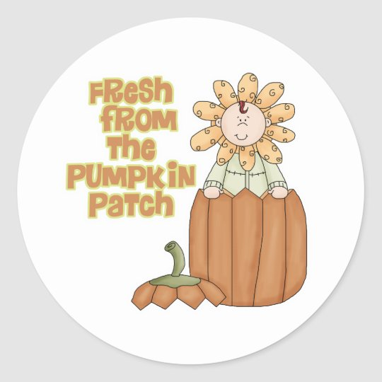 Fresh From Pumpkin Patch Baby Announcement Classic Round Sticker