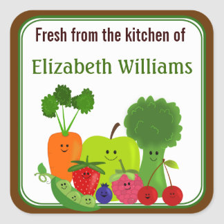 Fresh From The Kitchen Fruits and Veggies Small Square Sticker