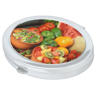 Fresh fruit and vegetables mirror for makeup