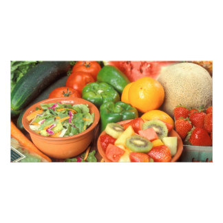 Fresh fruit and vegetables custom photo card