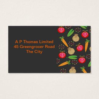 Fresh Fruit and Vegetables Retro Design Business Card
