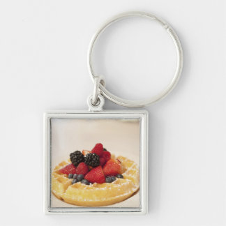 Fresh fruit waffle Silver-Colored square keychain