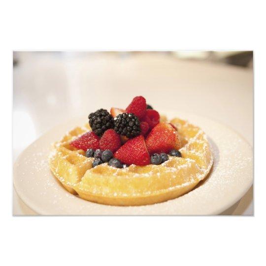 Fresh fruit waffle photo print