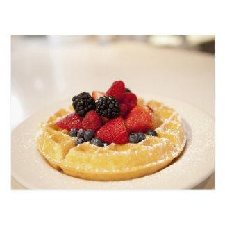 Fresh fruit waffle postcard
