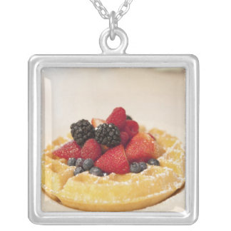 Fresh fruit waffle silver plated necklace