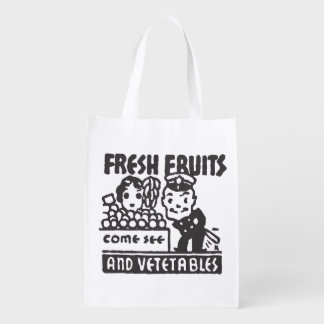 Fresh Fruits and Vegetables Reusable Grocery Bags