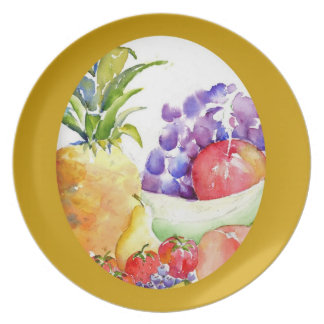 Fresh Fruits in Soft Watercolors Melamine Plate