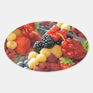 fresh fruits oval sticker