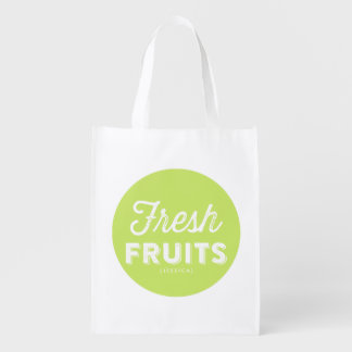 Fresh Fruits Retro Typography Green Personalized Market Tote
