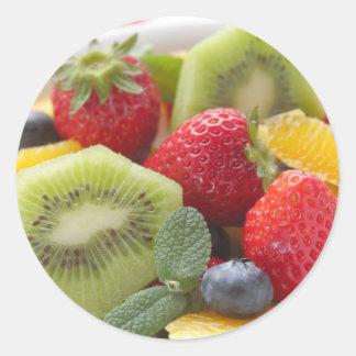 FRESH fruits salad in bowl Classic Round Sticker