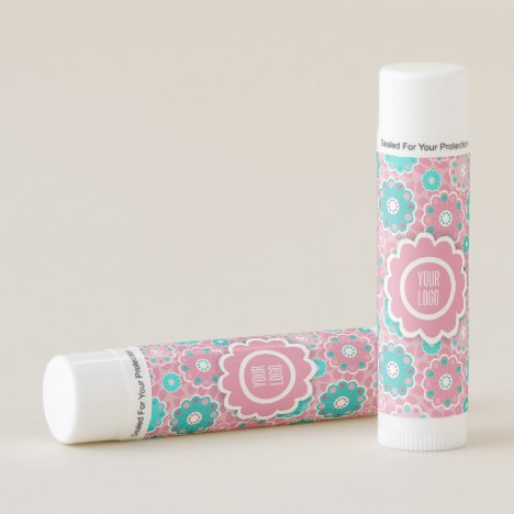 Fresh fun pink and aqua floral lip balm