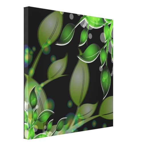 Fresh Garden Leaves on Black  Wrapped Canvas Canvas Prints