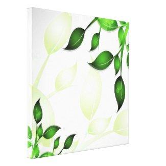 Fresh Garden Leaves on White Wrapped Canvas wrappedcanvas