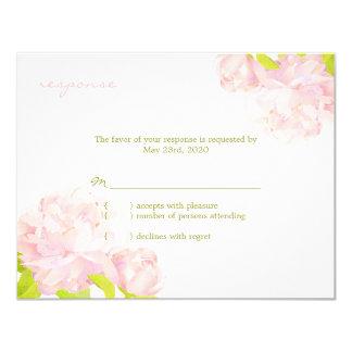 "Fresh Garden Peony Boho Wedding RSVP (4.25x5.5) 4.25"" X 5.5"" Invitation Card"
