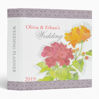 "Fresh Garden Peony Wedding Planner Binders (1.5"")"