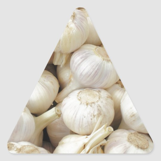 Fresh Garlic Bulbs Triangle Sticker