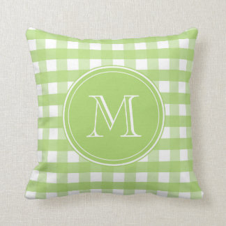 Fresh Green and White Gingham Throw Pillow
