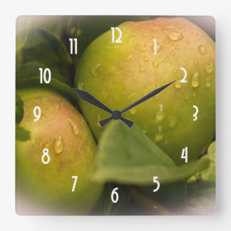 Fresh Green Apples with a Misty Border Square Wall Clock