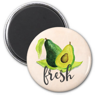 Fresh Green Avocado Still Life Fruit in Watercolor Magnet