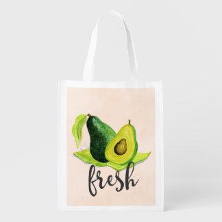Fresh Green Avocado Still Life Fruit in Watercolor Market Tote