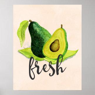 Fresh Green Avocado Still Life Fruit in Watercolor Poster