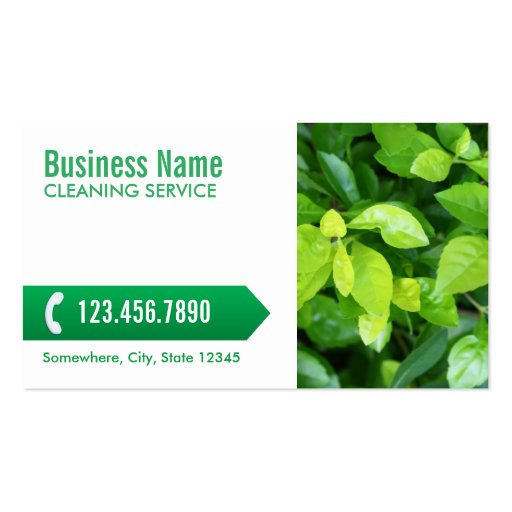 Fresh Green Leaves Cleaning Service Business Card