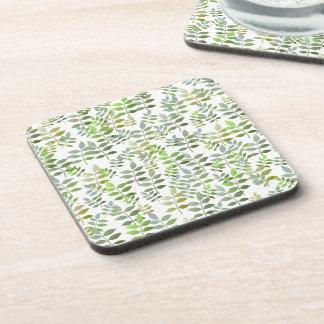 Fresh Green Leaves Pattern Coaster