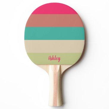 Fresh Green Pink Name Full Print Ping Pong Paddle