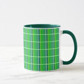 Fresh Green Plaid with White Stripes Mug