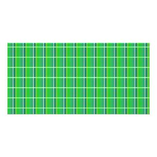 Fresh Green Plaid with White Stripes Photo Card