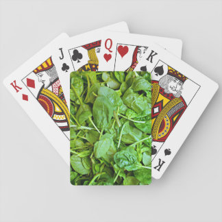 Fresh green spinach salad pattern playing cards