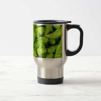 Fresh green sprouts of spruce trees travel mug
