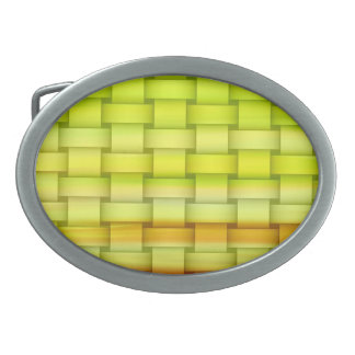 Fresh green stripes retro graphic design belt buckle