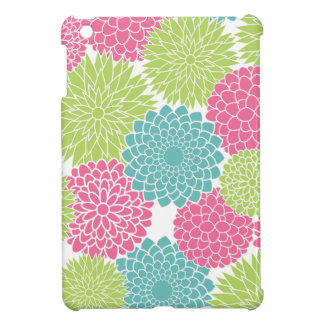Fresh Green Teal and Pink Modern Spring Flowers iPad Mini Cover