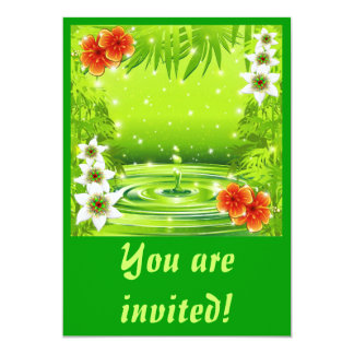 Fresh Green Water Bamboo and Tropical Flowers Invi Card