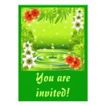 Fresh Green Water Bamboo and Tropical Flowers Invi Custom Invitations
