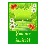 """Fresh Green Water Bamboo and Tropical Flowers Invi 5"""" X 7"""" Invitation Card"""