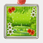 Fresh Green Water Bamboo and Tropical Flowers Orna Christmas Ornament