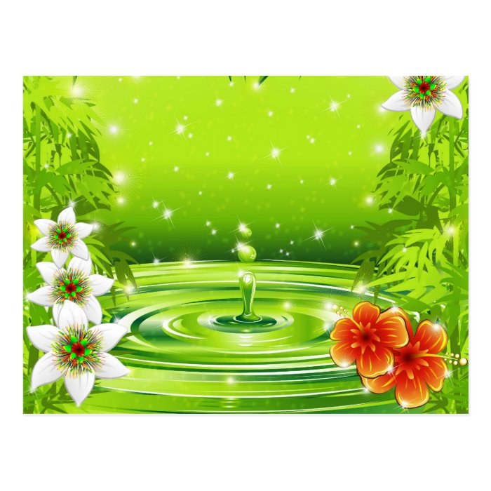 Fresh Green Water Bamboo and Tropical Flowers  Pos Postcard