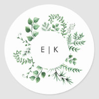 Fresh Greenery Leafy Plants Wedding Classic Round Sticker