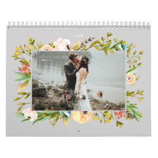 Fresh Greenery Watercolor Frame Custom Color Photo Calendar