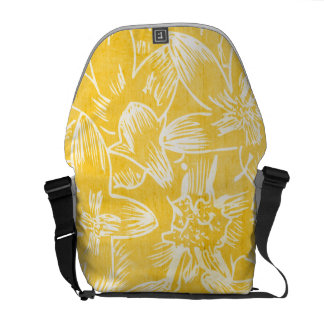 Fresh Hibiscus Lemon Yellow Floral Botanical Courier Bags