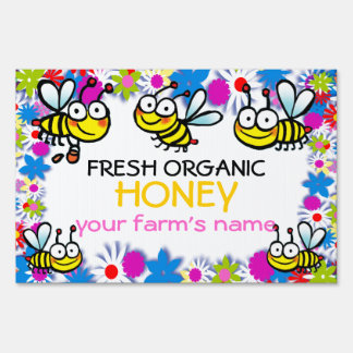 fresh honey cute cartoon bees sign
