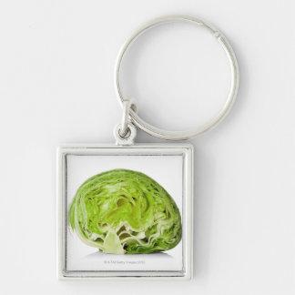 Fresh iceberg lettuce cut in half on white keychains